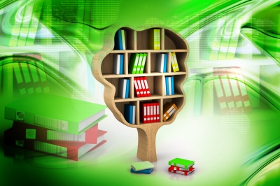 ID-100230708 - Tree Of Knowledge. Bookshelf Stock Image - renjith krishnan